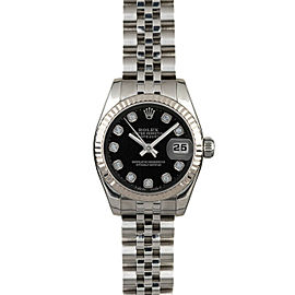 Rolex Datejust 26mm 179174 Women's Black Diamond White Gold 26mm 1 Year Warranty