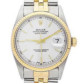 Rolex Datejust 36mm 16013 Unisex White Index Yellow Gold 36mm 1 Year Warranty