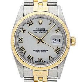 Rolex Mens Watch SS & Gold Datejust 16013 White Roman Dial 18K Gold Fluted Bezel