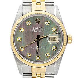 Rolex Datejust 16013 Unisex Black MOP Diamond Yellow Gold 36mm 1 Year Warranty