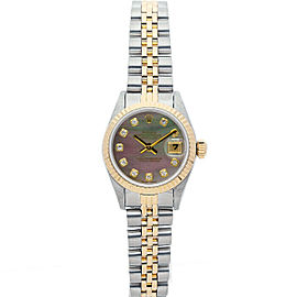 Rolex Datejust 69173 Women's Black MOP Diamond Yellow Gold 26mm 1 Year Warranty