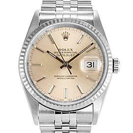 Rolex Datejust 36mm 16234 Unisex Silver Index White Gold 36mm 1 Year Warranty