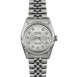 Rolex Datejust 36mm 16014 Unisex Silver Diamond White Gold 36mm 1 Year Warranty