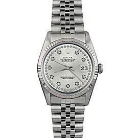 Rolex Datejust 36mm 16014 Unisex Silver Diamond White Gold 36mm 1 Year Warranty
