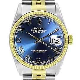 Rolex Datejust 36mm 16233 Unisex Blue Roman Yellow Gold 36mm 1 Year Warranty