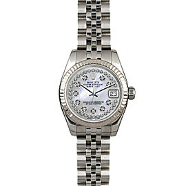 Rolex Datejust 179174 Women's White MOP Diamond White Gold 26mm 1 Year Warranty