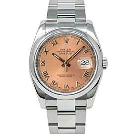 Rolex Datejust 36mm 116200 Unisex Salmon Roman Steel 36mm 1 Year Warranty