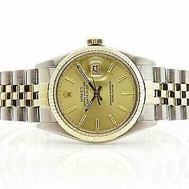 Rolex Datejust 36mm 16013 Unisex Champagne Yellow Gold 36mm 1 Year Warranty