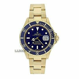 Rolex Submariner 16618 Men's Blue Yellow Gold 40mm Automatic 1 Year Warranty