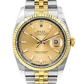 Rolex Datejust 116233 Unisex Champagne Index Yellow Gold 36mm 1 Year Warranty