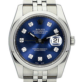 Rolex Datejust 36mm 116200 Unisex Blue Diamond Steel 36mm 1 Year Warranty