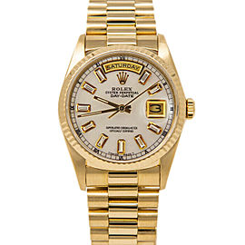 Rolex Day-Date18038 Men's White MOP Baguette Diamond Gold 36mm 1 Year Warranty