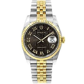 Rolex Datejust 116233 Unisex Black Jubilee Roman Gold 36mm 1 Year Warranty