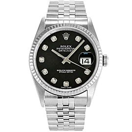 Rolex Datejust 36mm 16234 Unisex Black Diamond White Gold 36mm 1 Year Warranty