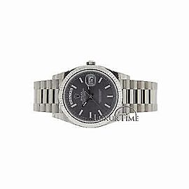 Rolex Day-Date II 228239 Men's Silver White Gold 40mm Automatic 1 Year Warranty