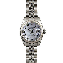 Rolex Datejust 179174 Women's White MOP Roman White Gold 26mm 1 Year Warranty