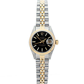 Rolex Datejust 26mm 6917 Women's Black Index Yellow Gold 26mm 1 Year Warranty