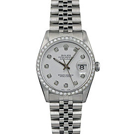 Rolex Datejust 36mm 16014 Unisex White Diamond White Gold 36mm 1 Year Warranty
