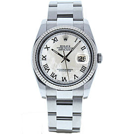 Rolex Datejust 116234 Unisex White MOP Roman White Gold 36mm 1 Year Warranty