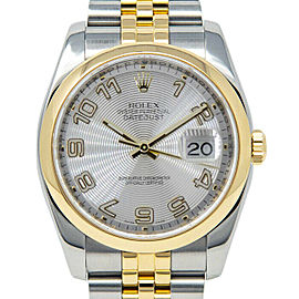 Rolex Datejust 116203 Unisex Silver Arabic Yellow Gold 36mm 1 Year Warranty