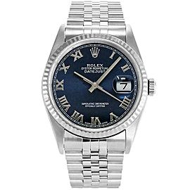Rolex Datejust 36mm 16234 Unisex Blue Roman White Gold 36mm 1 Year Warranty