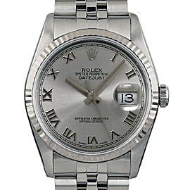 Rolex Datejust 36mm 16014 Unisex Silver Roman White Gold 36mm 1 Year Warranty