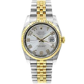 Rolex Datejust 116233 Unisex Silver Arabic Yellow Gold 36mm 1 Year Warranty