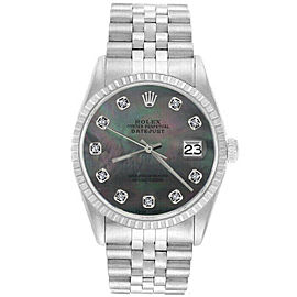Rolex Datejust 36mm 16220 Unisex Black MOP Diamond Steel 36mm 1 Year Warranty