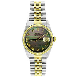 Rolex Datejust 16233 Unisex Black MOP Roman Yellow Gold 36mm 1 Year Warranty