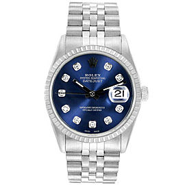 Rolex Datejust 36mm 16220 Unisex Blue Diamond Steel 36mm 1 Year Warranty