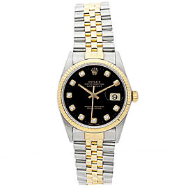 Rolex Datejust 36mm 16013 Unisex Black Diamond Yellow Gold 36mm 1 Year Warranty