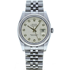 Rolex Datejust 36mm 116234 Unisex White Diamond White Gold 36mm 1 Year Warranty