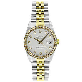 Rolex Datejust 36mm 16233 Unisex White Diamond Yellow Gold 36mm 1 Year Warranty