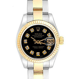 Rolex Datejust 179173 Stainless Steel & Gold Black Diamond Dial 1 Year Warranty