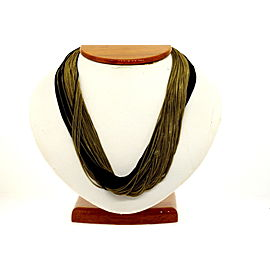 "Lagos Caviar Sterling Silver Multi Chain Necklace Black Rhodium Gold Wash 17"""