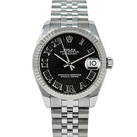 Rolex 178274 Datejust 31mm Women's Stainless Steel Black 1 Year Warranty