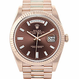 Rolex 228235 Day-Date 40mm Men's Rose Gold Chocolate 1 Year Warranty