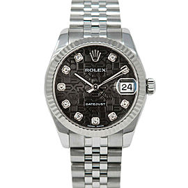 Rolex 178274 Datejust 31mm Women's Stainless Steel Black 1 Year Warranty