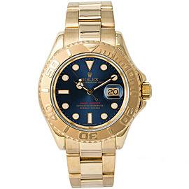 Rolex 16628 Yacht-Master Men's Yellow Gold Blue 1 Year Warranty