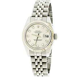 Rolex Datejust 26mm Jubilee Watch w/Factory Silver Diamond Dial 18K White Gold
