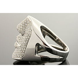Sonia B. Diamond Face Ring 14k White Gold 2.5ct Pave 3D size 5