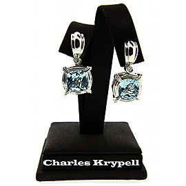 Charles Krypell .12ct diamond & 11.74ct Blue topaz earrings in 18K & Silver