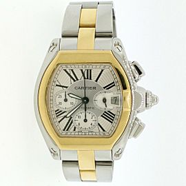 Cartier Roadster XL 2-Tone Gold/Steel Chronograph Roman Dial W62027Z1 Box&Papers