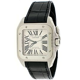Cartier Santos 100 Midsize Silver Roman Dial Automatic Mens Watch 2878