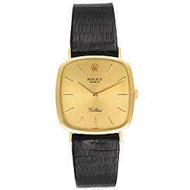 Rolex Cellini 18k Yellow Gold Black Strap Mens Vintage Watch