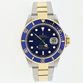 Rolex Submariner 2-Tone Blue Bezel/Dial Mens 40mm Watch 16613