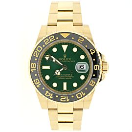 Rolex GMT-Master II Green Dial Yellow Gold 40MM Mens Watch Ref 116718 Box Papers