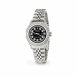 Rolex Datejust 26mm Steel Jubilee Diamond Watch with Black Dial