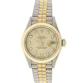 Rolex Tridor Datejust Ladies Tri-Color 26MM Original Champagne Diamond Dial Pres