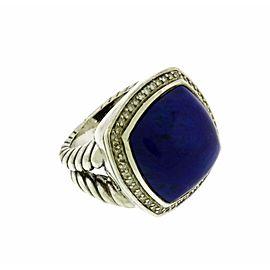 David Yurman sterling silver .33 CT pave diamond & lapis Albion ring size 6